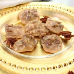 a small batch of pralines on a dish.