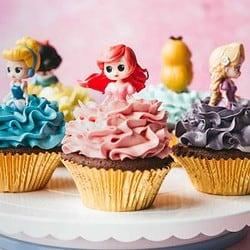 Disney Princess Cupcakes with gold cupcake liners