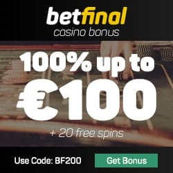 Betfinal (Casino, Sports, Live Dealer) - 20 free spins & 100€ bonus code