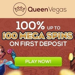 Queen Vegas Casino 100% welcome bonus + 100 gratis spins
