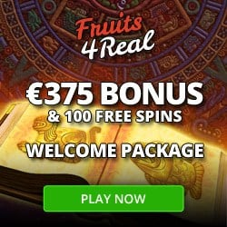 How to get 100 gratis spins and €375 bonus to Fruits4Real Casino?