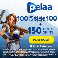 Pelaa Casino 150 free spins and $/€1,000 welcome bonus