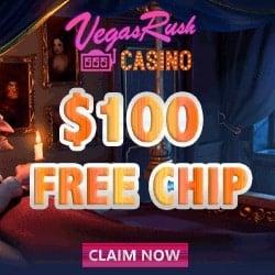 Vegas Rush Casino no deposit bonus banner