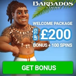 Barbados Casino - 100 gratis spins & $200 free bonus - big payouts!