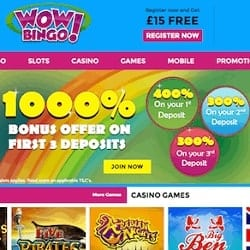 Wow Bingo Casino £15 free spins NDB + £3000 FREE in bonus money