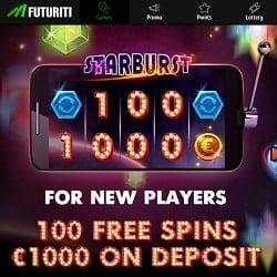 Futuriti Casino [futuriti.com] 100 gratis spins + 1000 EUR free bonus