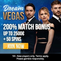 Dream Vegas Casino 50 free spins and €2,500 first deposit bonus