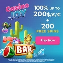 Casino Joy 200 free spins + 100% first deposit bonus (up to £/€/$200)
