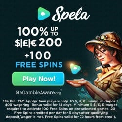 Spela Casino 100 free spins and €1,000 welcome bonus