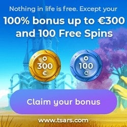 100% up to 300 EUR + 100 free spins on 1st deposit