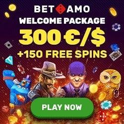 Get 150 free spins and 300 EUR bonsu to Betamo Casino!