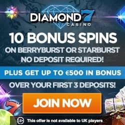 Diamond 7 Casino 60 free spins + 200% up to €500 gratis bonus