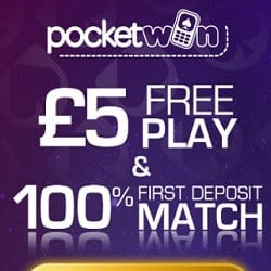 PocketWin Casino £5 bonus without depsosit + 200% free bonus