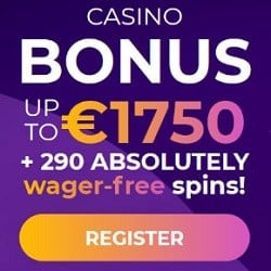 100% bonus + 290 gratis spins + €1750 free money