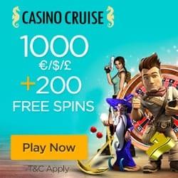 CasinoCruise - 200 free spins on Starburst - no deposit bonus!