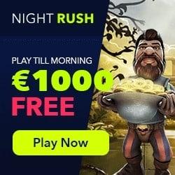 NightRush Casino 100 free spins & 100% up to $1000 exclusive bonus