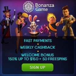Bonanza Game Casino 150 gratis spins and $650 welcome bonus