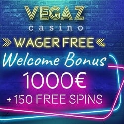 Get 100% bonus on your first deposit to Vegaz!