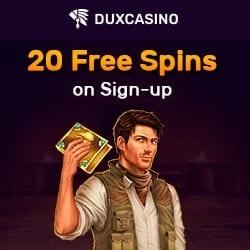 Dux Casino banner 20 FS banner