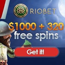 Riobet Casino 320 Freispiele + $1000 Gratis Willkommensbonus