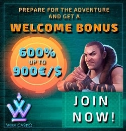 Wira Casino - €/$1,000 high roller welcome bonus and free spins