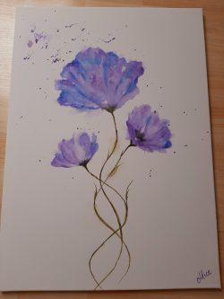 Original Lila Blumen, Aquarelle auf großer Leinwand 50x70cm