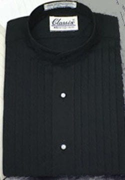 Black Mandarin Pleated Shirt
