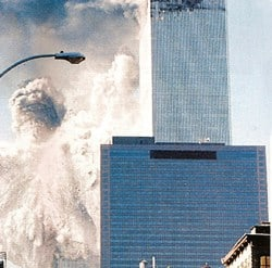 Photo of the demolition of the South Tower of the WTC