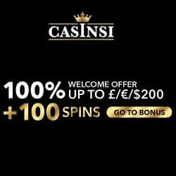 Casinsi.com Casino 100 gratis spins + 100% welcome bonus