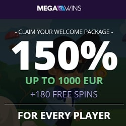 Megawins Casino 150% up to 1000€ or 1 BTC bonus + 180 free spins