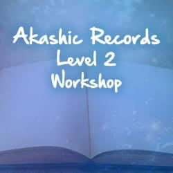 Akashic Records text over open book and blue sparkles