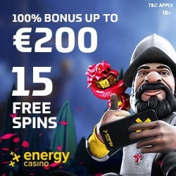 Energy Casino & Energy Bet: 15 free spins NDB + €400 welcome bonus