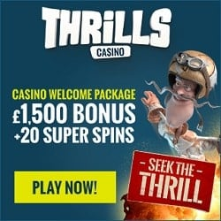 Thrills Casino 20 free spins and £1,500 gratis - no wagering bonus!