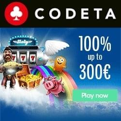 Codeta Casino 100% up to €300 bonus + 10% cashback + free spins