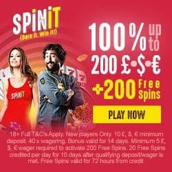 Spinit Casino 200 free spins + 200% bonus + €1000 gratis money