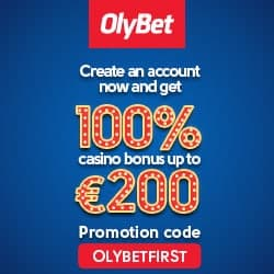 OlyBet Casino - 100% up to €200 Bonus and Free Spins - review