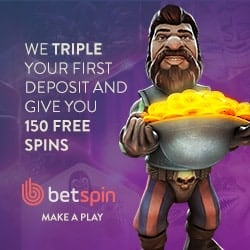 Betspin Casino 150 free spins and 350% up to €400 bonus