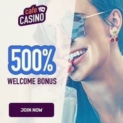 Cafe Casino $10 free cash + 600% up on $6000 bonus (Bitcoin deposit)