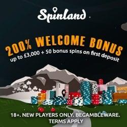 Spinland Casino Online & Mobile: £3500 bonus + 200 extra spins