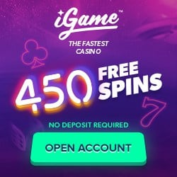 iGame Casino Review: 450 no deposit free spins + 100% free bonus