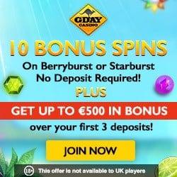 GDay Casino 60 free spins no deposit required + €500 free bonus