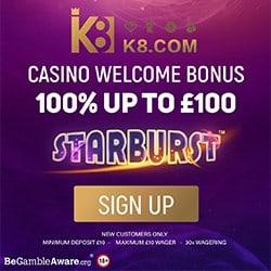 K8.com UK Casino & Sportsbook: 100% free bonus up to £100