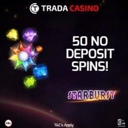 Trada Casino 100 gratis spins and €300 free bonus - no deposit required