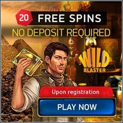 Wild Blaster Casino 20 gratis spins bonus upon registration