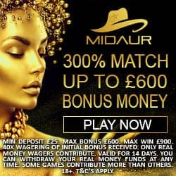 Midaur Casino [register & login] 300% up to €600 welcome bonus