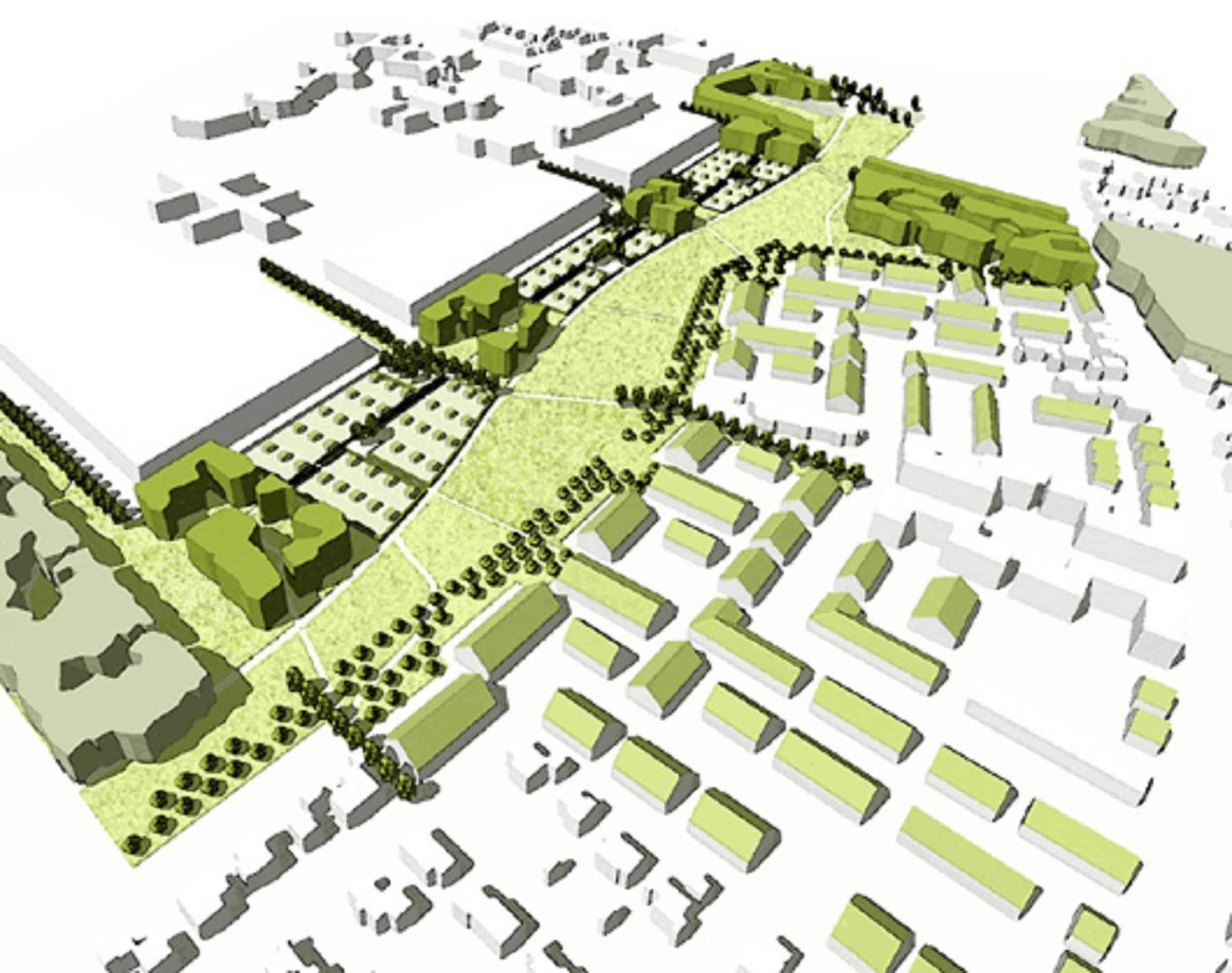 Bild: Perspektive über das Planungsgebiet im Gefilde, Darstellung: ver.de landschaftsarchitektur