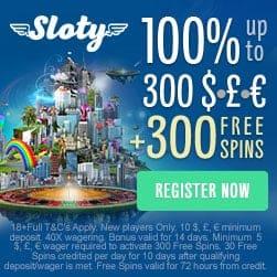 Sloty Casino Online - 300 free spins and £/€/$ 1500 extra bonus