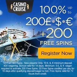 Cruise Casino 20 FS no deposit + €1000 welcome bonus + 200 free spins
