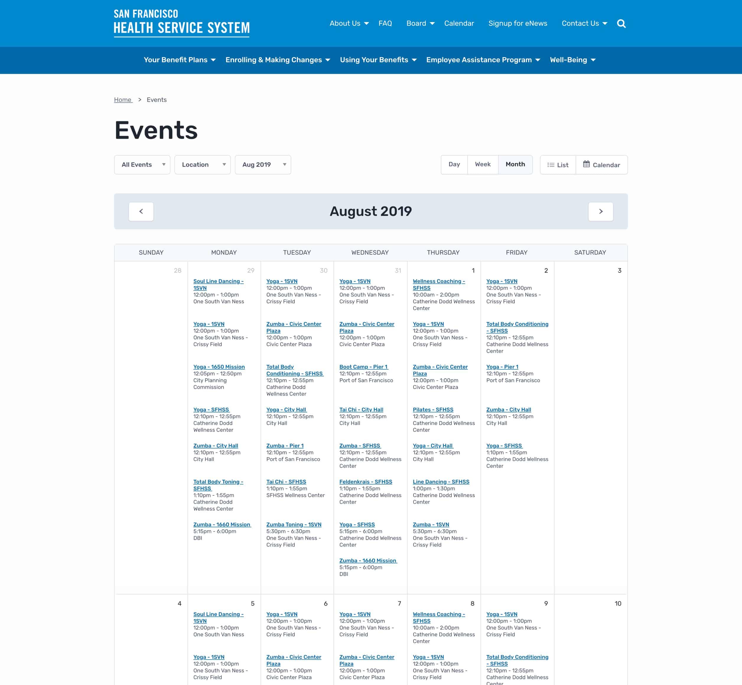 A screenshot of San Francisco's Heath Service System's online calendar of events, a Kanopi Studios case study.
