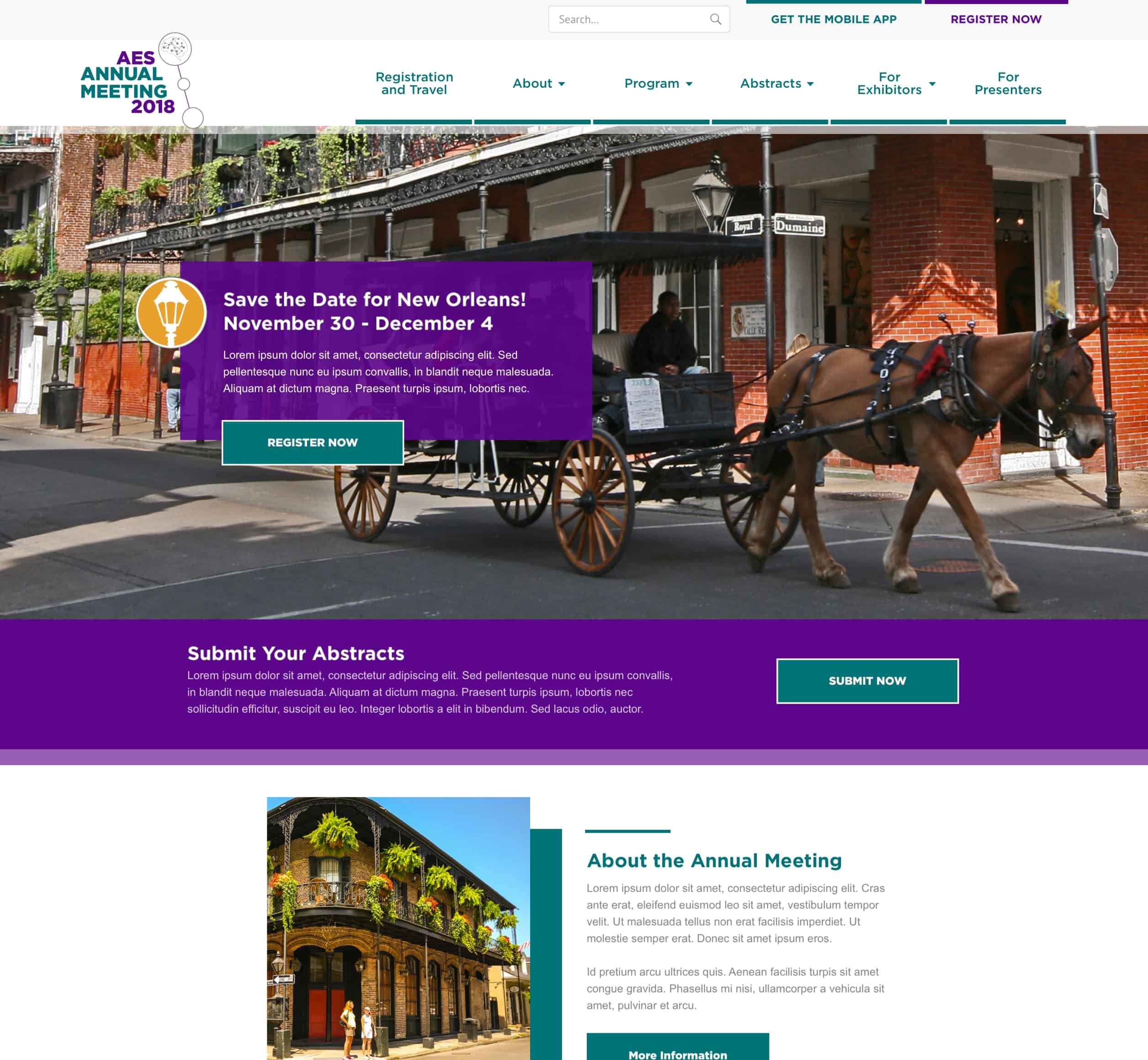 A screenshot of American Epilepsy Society Annual Meeting homepage, a Kanopi Studios case study.